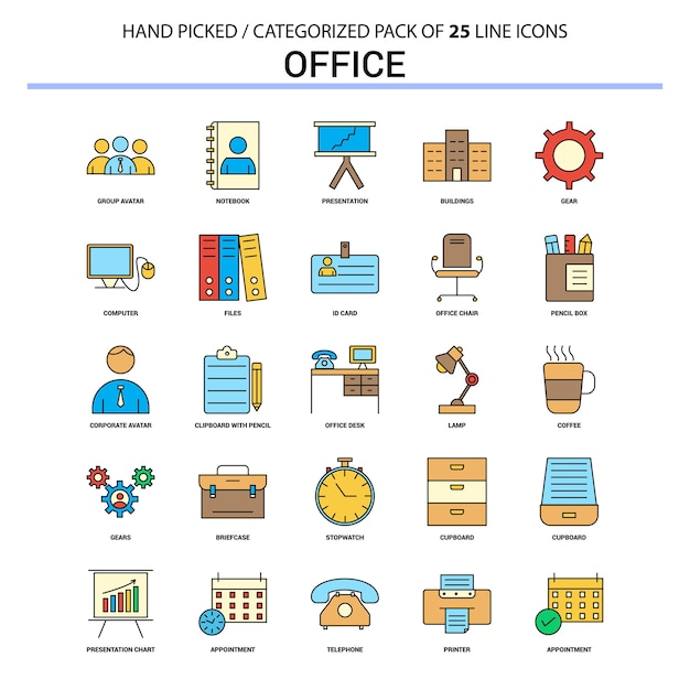 Zestaw ikon office flat line Premium Wektorów
