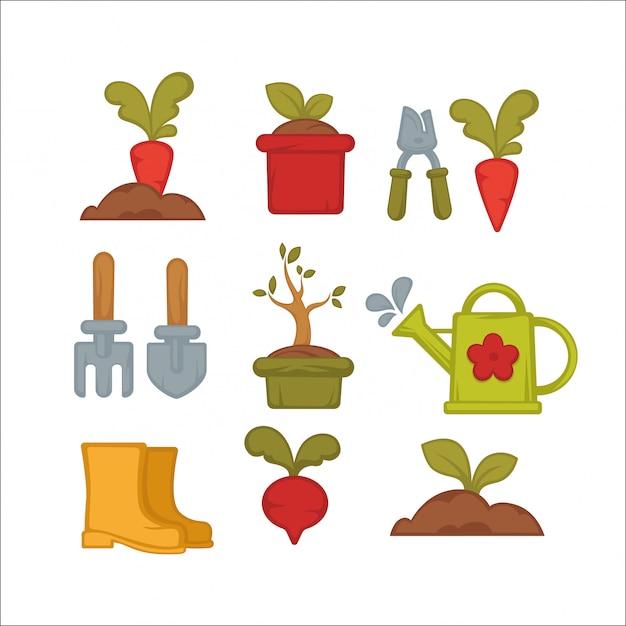 Zestaw Ikon Ogrodnictwa Rolniczego Lub Narzędzi Ogrodowych. Premium Wektorów