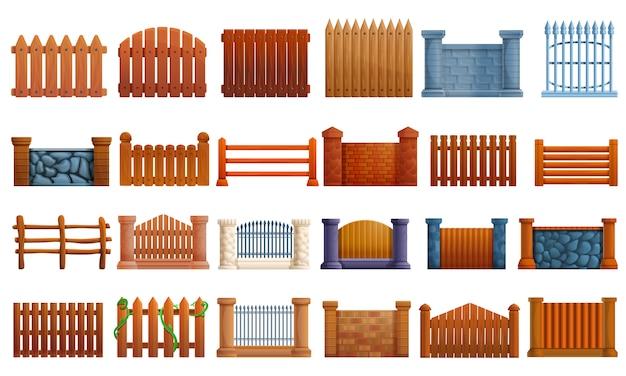 Zestaw ikon ogrodzenia, stylu cartoon Premium Wektorów