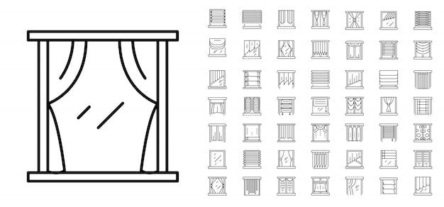 Zestaw ikon okna niewidomego. zarys zestaw ikon wektorowych niewidomych okno Premium Wektorów