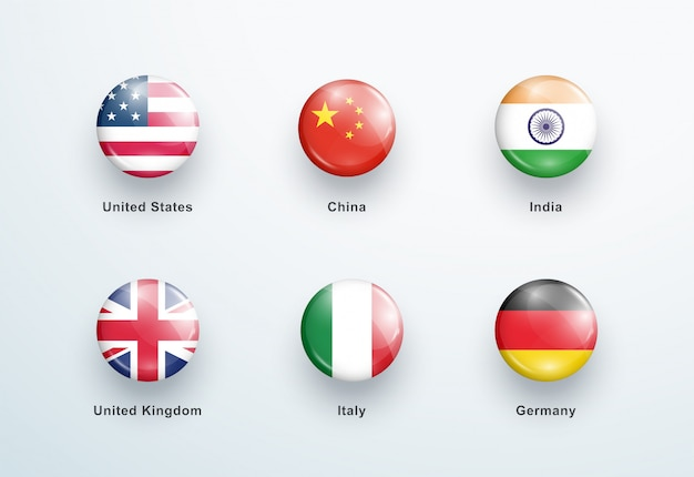 Zestaw Ikon Okrągłe Błyszczące Guziki Flagi Narodowe Premium Wektorów
