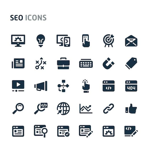 Zestaw ikon optymalizacji wyszukiwarki. seria fillio black icon. Premium Wektorów