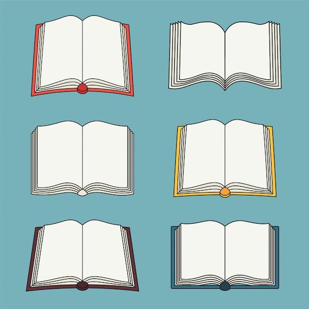 Zestaw Ikon Otwartej Książki Premium Wektorów