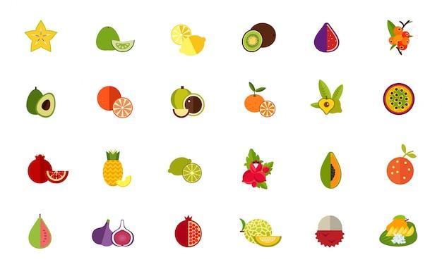 Zestaw Ikon Owoców Odmiany Darmowych Wektorów