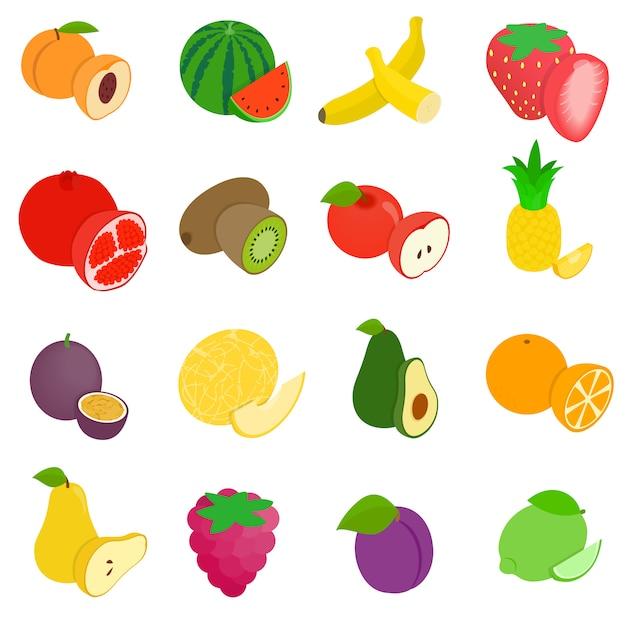 Zestaw Ikon Owoców Premium Wektorów
