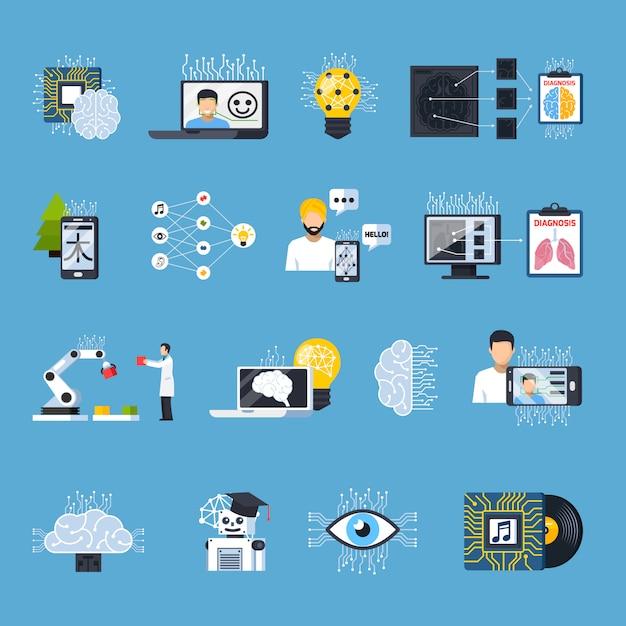 Zestaw ikon ozdobnych sieci neuronowych Darmowych Wektorów