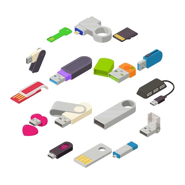 Zestaw ikon pamięci flash usb, styl izometryczny Premium Wektorów