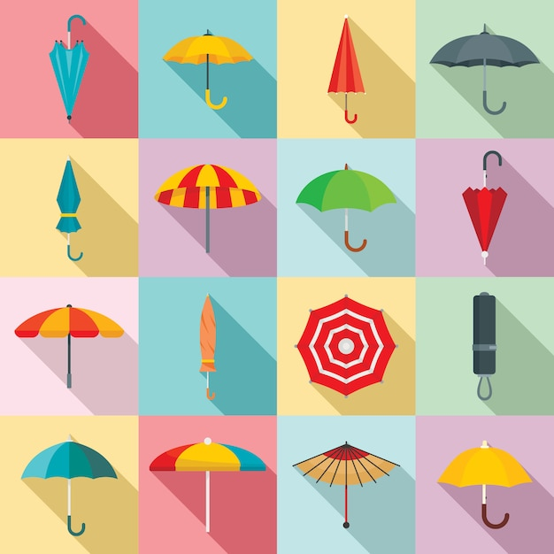 Zestaw Ikon Parasol, Płaski Premium Wektorów