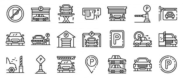 Zestaw Ikon Parking Podziemny, Styl Konturu Premium Wektorów