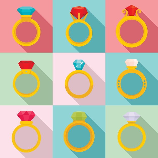 Zestaw ikon pierścionek z brylantem, płaski Premium Wektorów