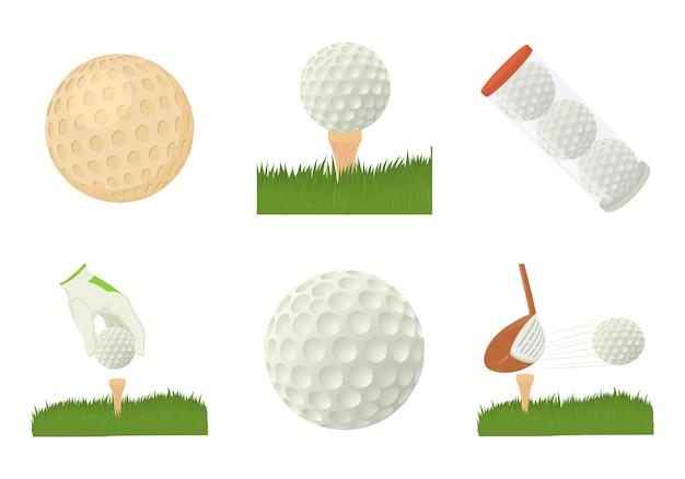 Zestaw ikon piłeczki do golfa Premium Wektorów