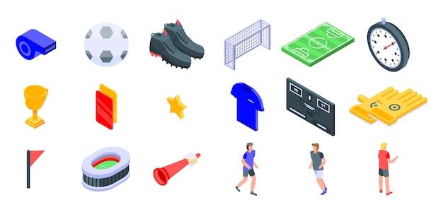 Zestaw ikon piłki nożnej, izometryczny styl Premium Wektorów