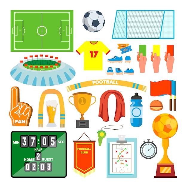 Zestaw ikon piłki nożnej Premium Wektorów
