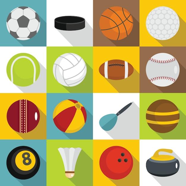 Zestaw ikon piłki sportowe, płaski Premium Wektorów