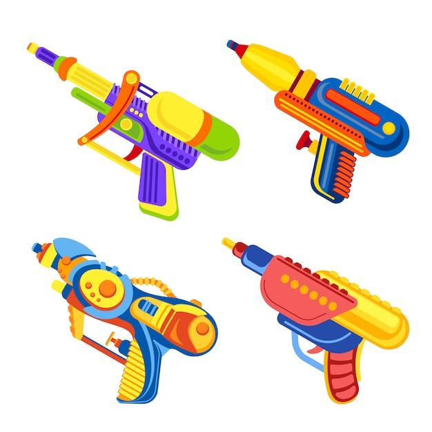 Zestaw Ikon Pistolet Tryskać Premium Wektorów