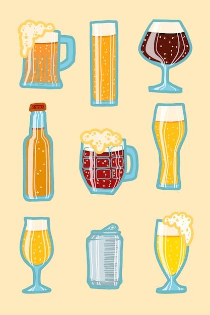 Zestaw ikon piwa rzemieślniczego Premium Wektorów
