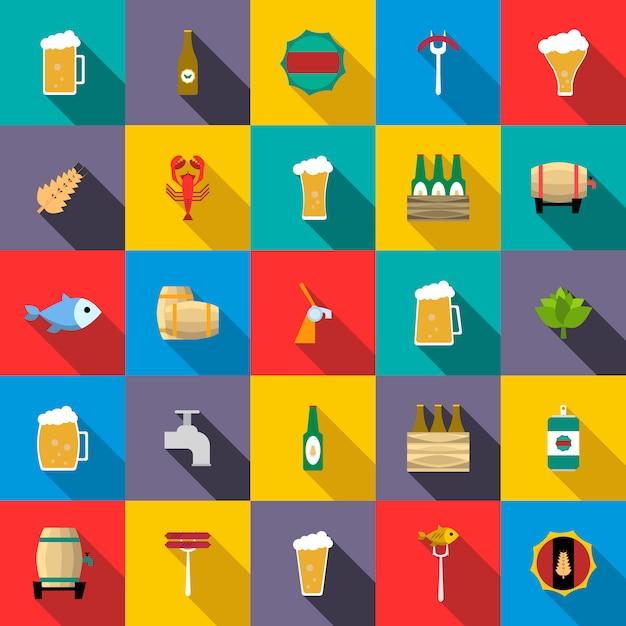 Zestaw ikon piwa Premium Wektorów