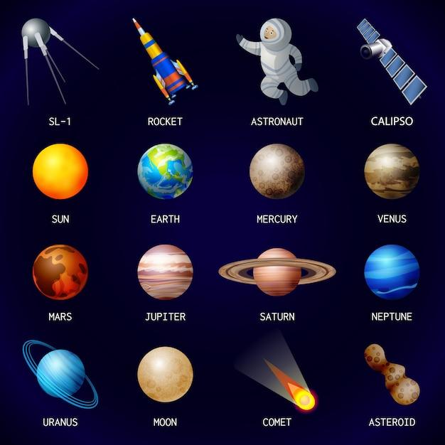 Zestaw ikon planet Premium Wektorów