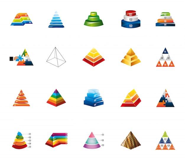 Zestaw ikon plansza na białym tle piramidy Darmowych Wektorów
