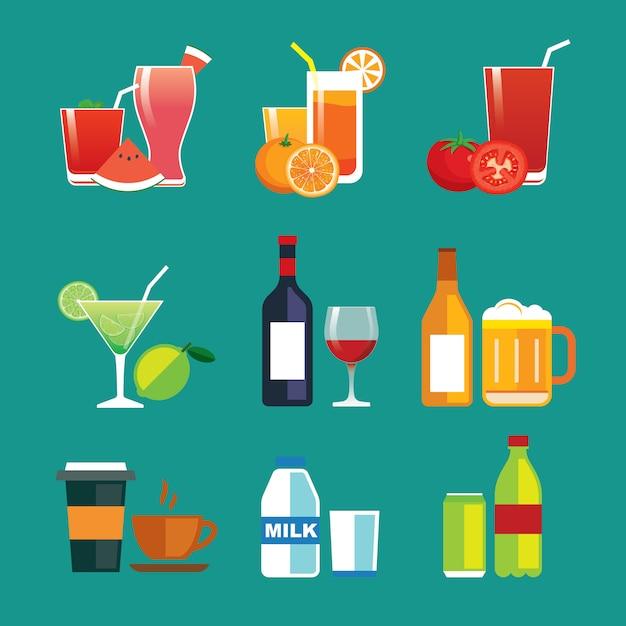 Zestaw Ikon Płaska Konstrukcja Drinki I Napoje Premium Wektorów