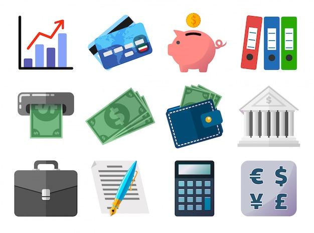 Zestaw Ikon Płaski, Biznes, Finanse, Pieniądze I Płatności Koncepcji Premium Wektorów