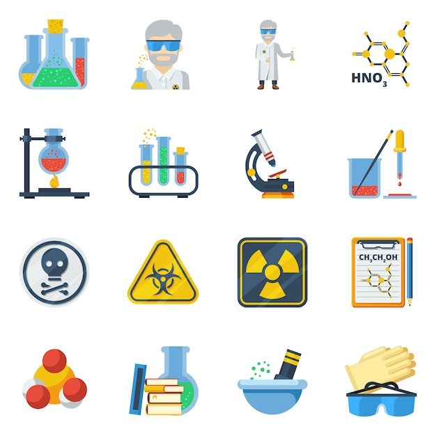 Zestaw ikon płaski kolor chemii Premium Wektorów