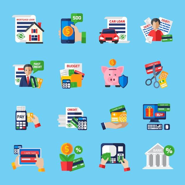 Zestaw ikon płaski kolor długu pożyczki Darmowych Wektorów