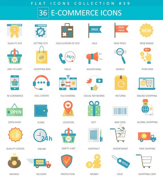 Zestaw ikon płaski kolor e-commerce wektor Premium Wektorów