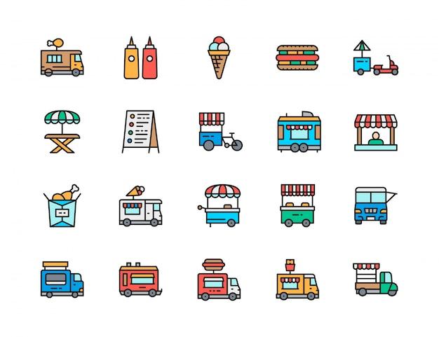 Zestaw Ikon Płaski Kolor Linii Ciężarówka żywności. Smażony Kurczak, Lody, Hot Dog Premium Wektorów