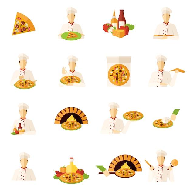 Zestaw Ikon Płaski Pizza Maker Darmowych Wektorów