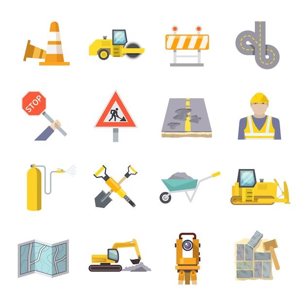 Zestaw ikon płaski robotnik drogowy Darmowych Wektorów