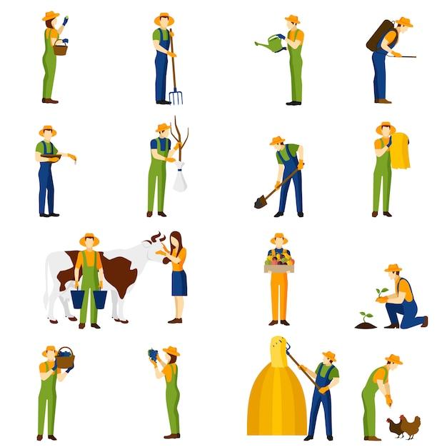 Zestaw ikon płaski rolnik w pracy Darmowych Wektorów