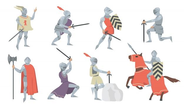 Zestaw Ikon Płaski Różnych średniowiecznych Rycerzy Darmowych Wektorów