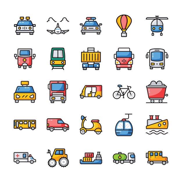 Zestaw ikon płaski transport Premium Wektorów