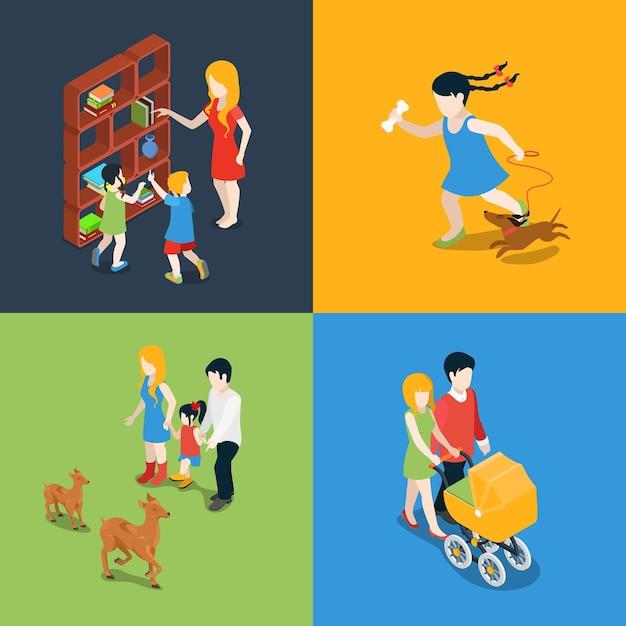Zestaw Ikon Płaskich Izometrycznych Wysokiej Jakości Rodzinnych Wakacji Weekendowych Wieczorem. Mama Córka Syn Tata Książka Czytanie Wózek Spacer Spacer Pies Zoo Zwiedzanie. Zbuduj Własną Kolekcję świata. Darmowych Wektorów