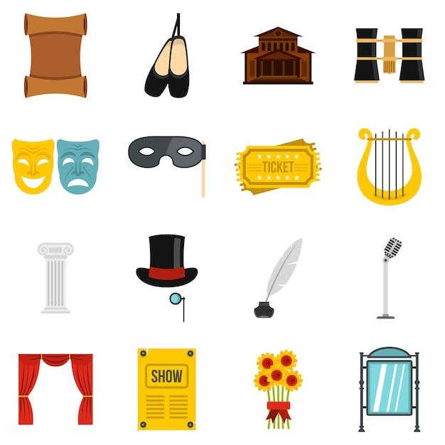 Zestaw ikon płaskich teatru Premium Wektorów