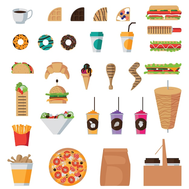 Zestaw Ikon Płaskie Fast Food Na Białym Tle Darmowych Wektorów