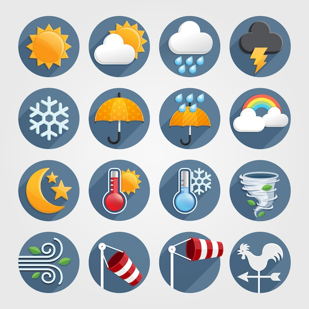 Zestaw ikon płaskie ikony pogody. Premium Wektorów