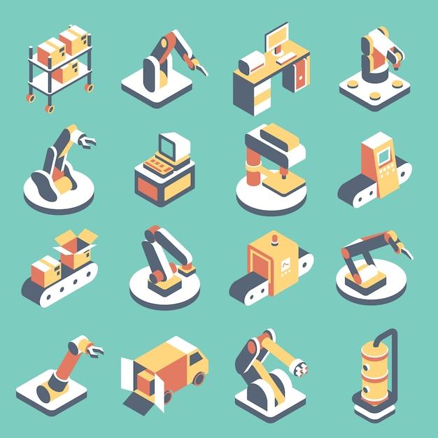 Zestaw Ikon Płaskie Izometryczne Zautomatyzowanej Linii Produkcyjnej Premium Wektorów