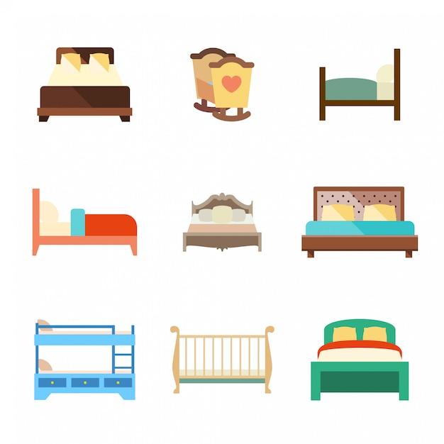 Zestaw Ikon Płaskie łóżko Premium Wektorów