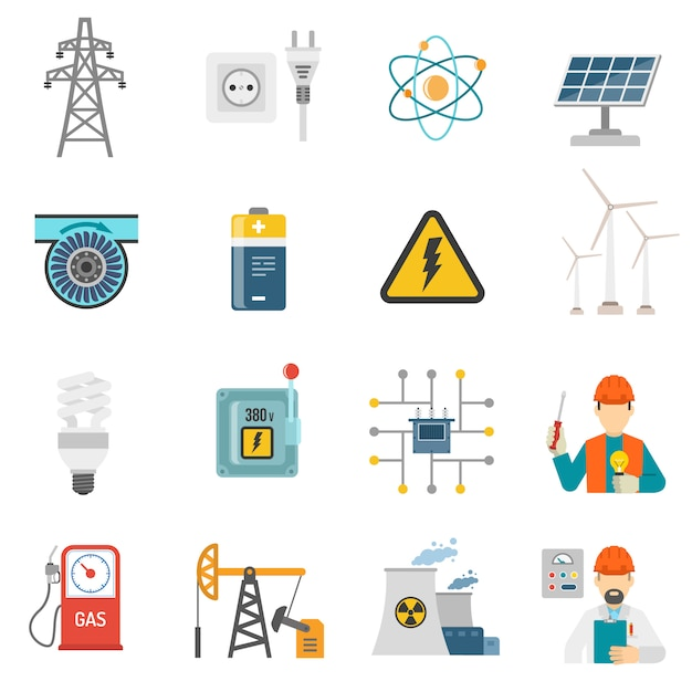 Zestaw ikon płaskie moc energii Darmowych Wektorów