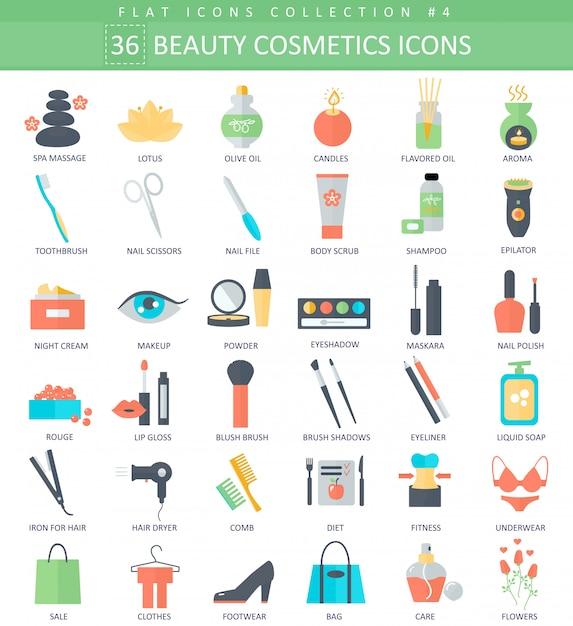 Zestaw ikon płaskie piękno i kosmetyki Premium Wektorów