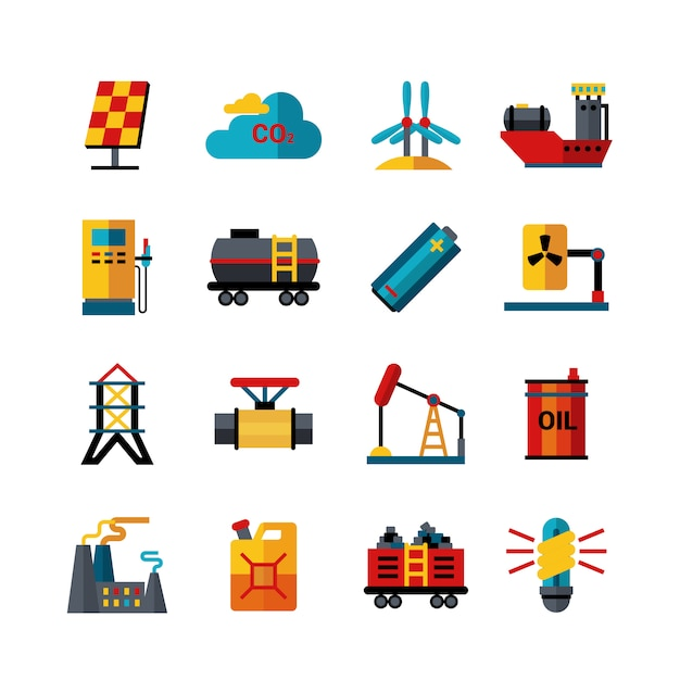 Zestaw Ikon Płaskie Produkcji Przemysłu Energetycznego Premium Wektorów