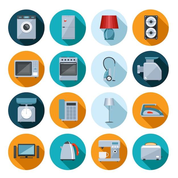 Zestaw Ikon Płaskie Urządzenia Gospodarstwa Domowego Na Kolorowe Okrągłe Przyciski Internetowe Z Pralką Darmowych Wektorów