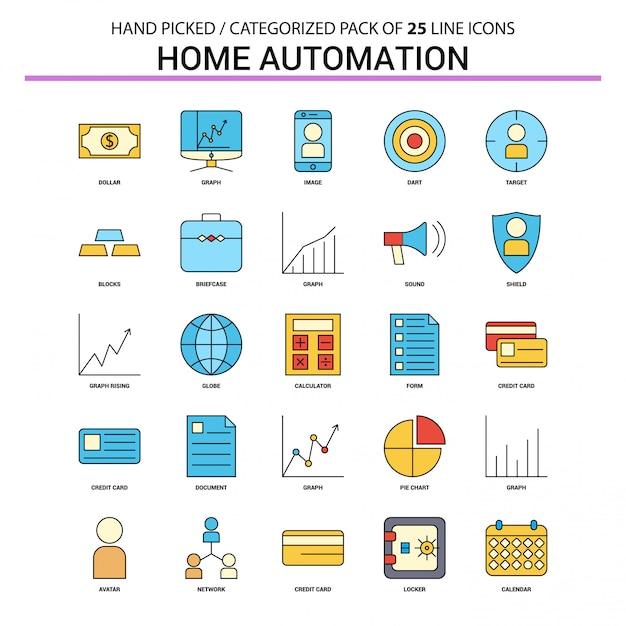 Zestaw ikon płaskiej linii automatyki domowej Premium Wektorów