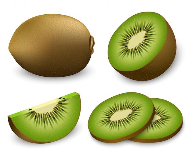 Zestaw Ikon Plasterki Owoców Kiwi Premium Wektorów