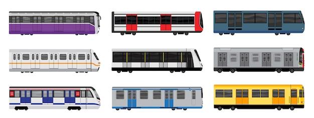 Zestaw ikon pociągu metra, stylu cartoon Premium Wektorów