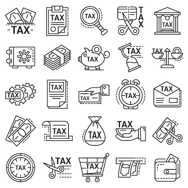Zestaw ikon podatków. zarys zestaw ikon wektorowych podatków Premium Wektorów