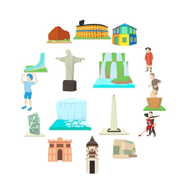Zestaw Ikon Podróży Argentyna, Stylu Cartoon Premium Wektorów