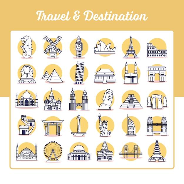 Zestaw ikon podróży i przeznaczenia ze stylem konspektu Premium Wektorów